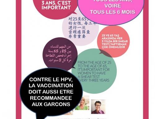 Prévention du cancer du col de l'utérus, femmes, séroneg, séropos, lesbiennes, bies, hommes trans, jeunes garçons, jeunes gays, nous sommes touTEs concernéEs !